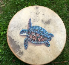 "Sea Turtle Ocean Drum - This little fella guards (or hugs) the surface of the 12"" (30cm) ocean drum. Sold for €80,- There's 2 more drums available!"